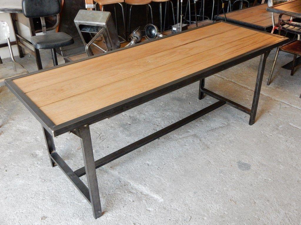 Ancienne Table Militaire Fer Et Bois Table Design