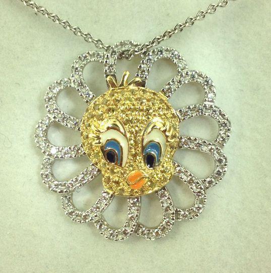 0 68 Carat Diamonds F VS & Sapphire 18k Multi Tone Gold Tweety