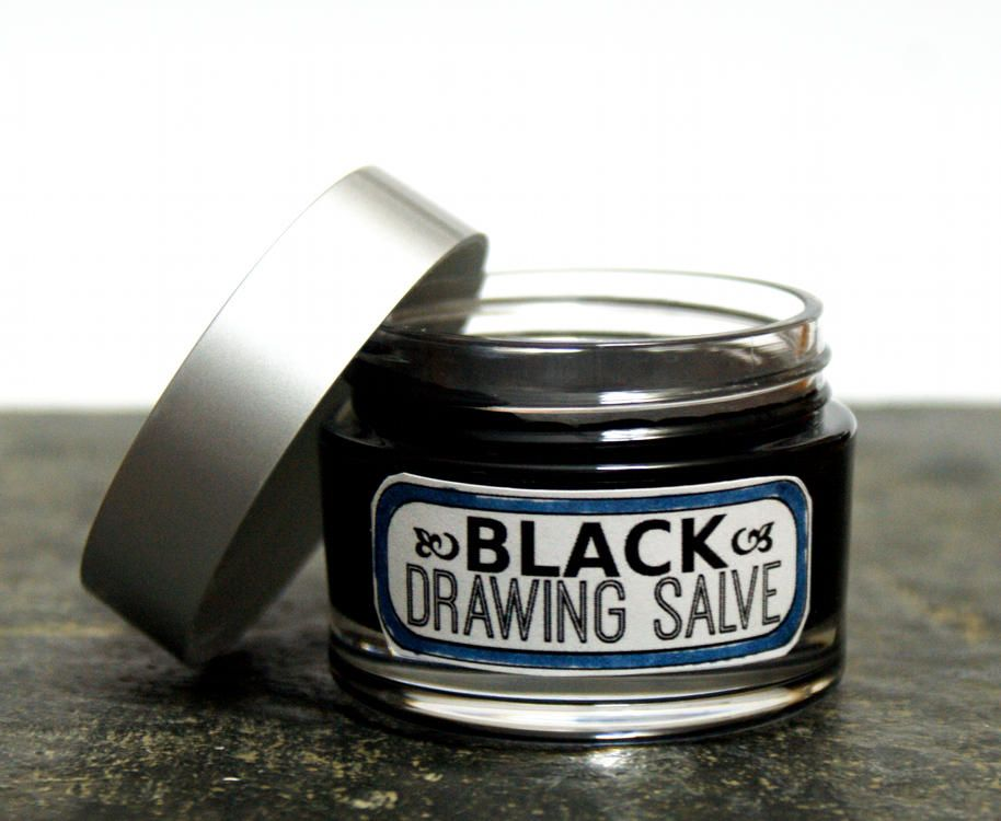 It is a graphic of Juicy Drawing Salve Acne