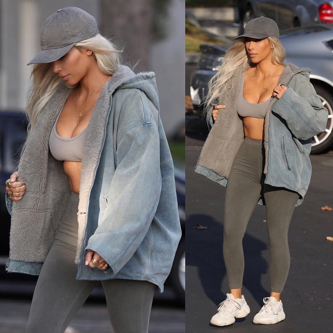1223d36bf Kim Kardashian Wearing YEEZY SEASON 6 Clothing