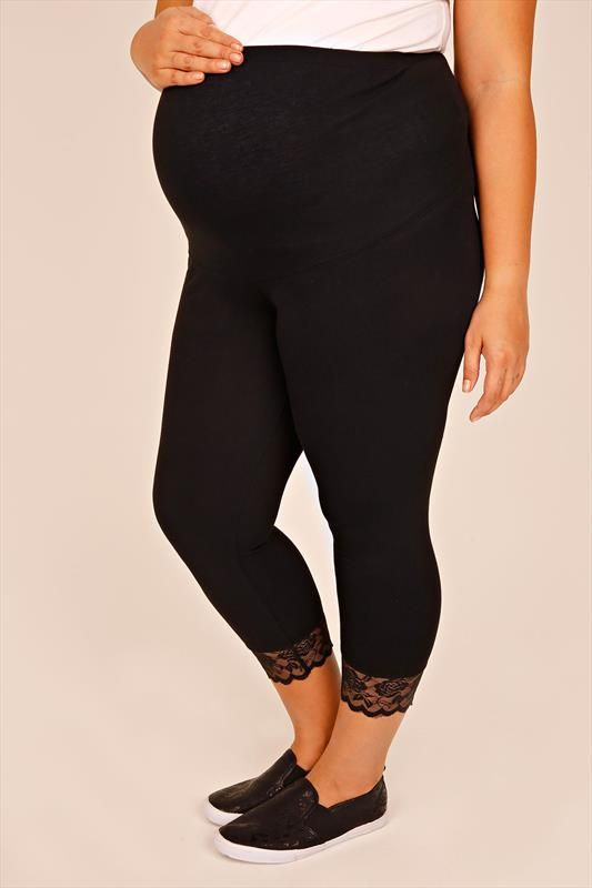 934c0cb866c27 BUMP IT UP MATERNITY Black Cotton Elastane Cropped Leggings With ...
