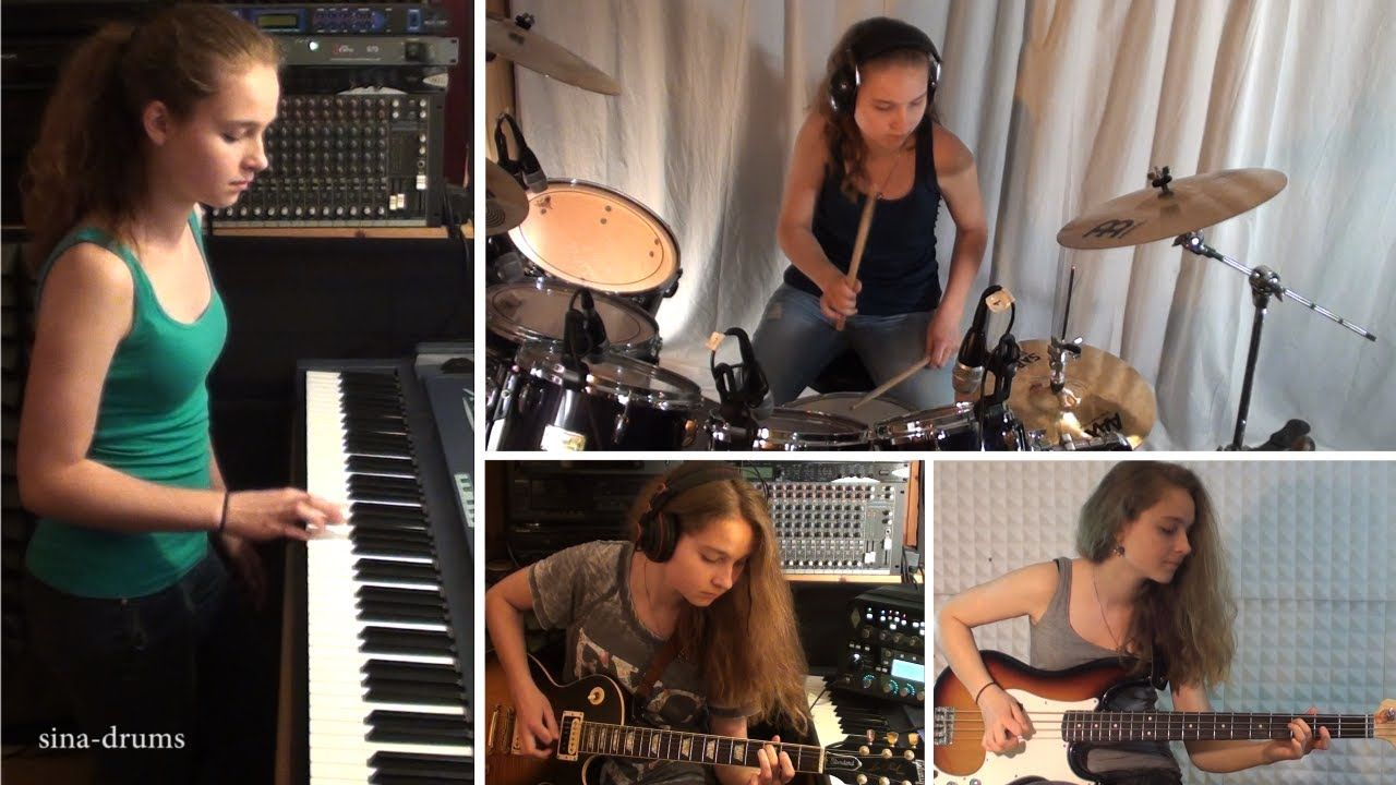 Van Halen Right Now Piano Drum Guitar Bass Cover By 15 Y O Girl Drum Cover Drums Guitar Lessons