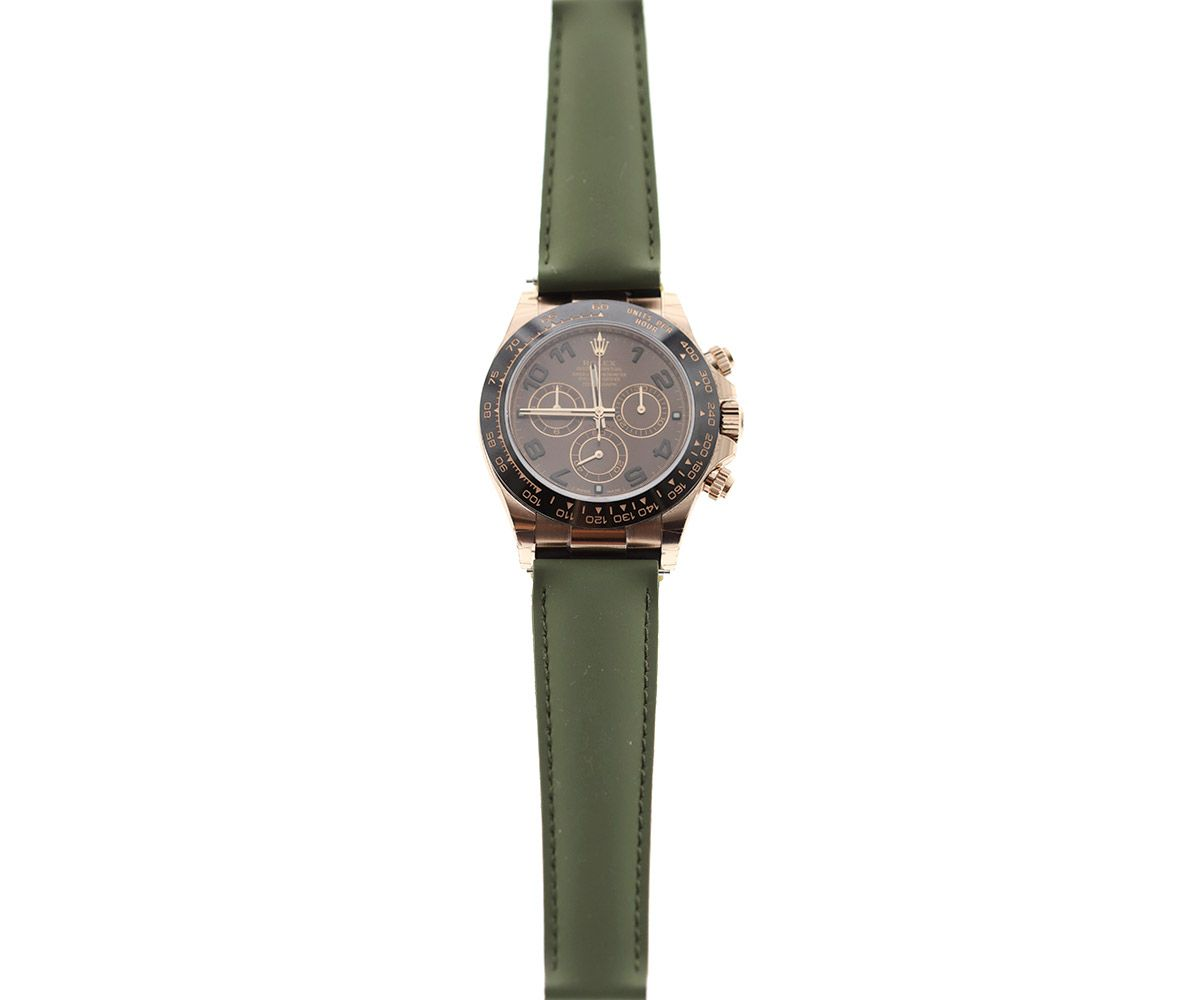 Army Green Natural Rubber Band for Rolex Daytona Watches 20mm by Visconti Milano #rolexdaytona