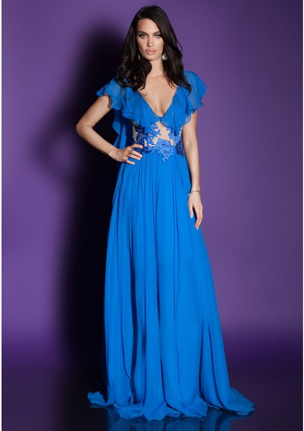 Evening dress crafted in silk veil and lace embroidery Long, A-line ...