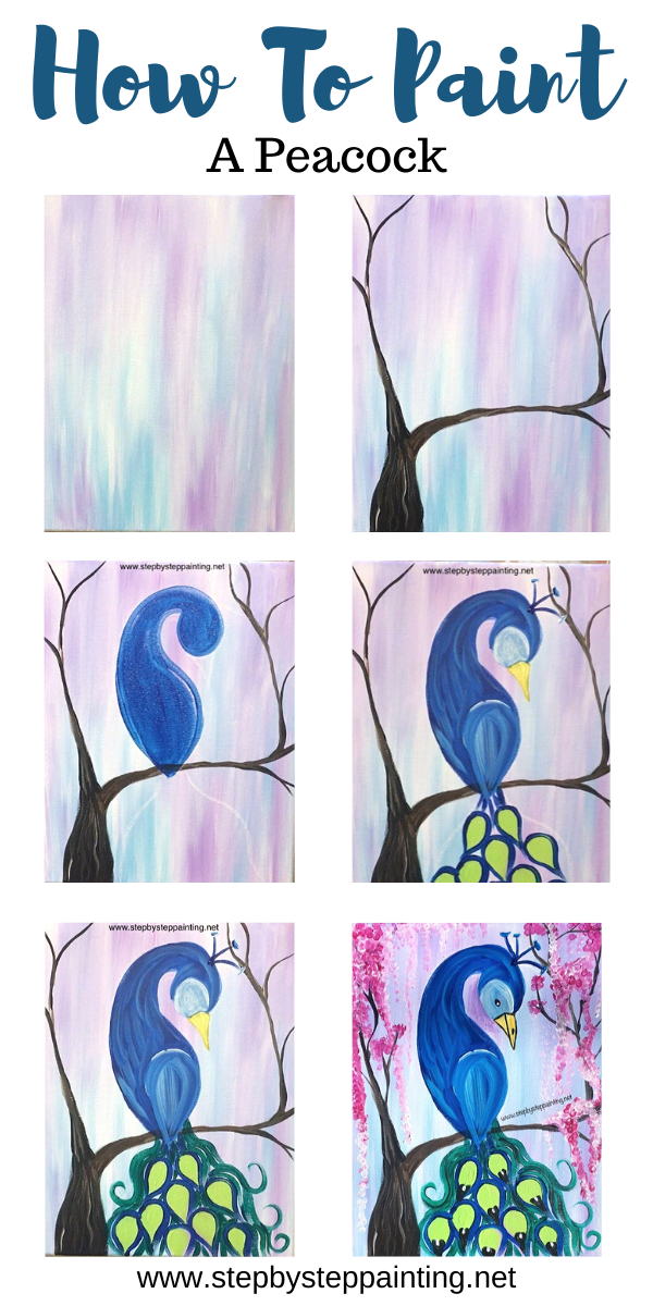 Peacock Painting Step By Step Acrylic Tutorial With Pictures