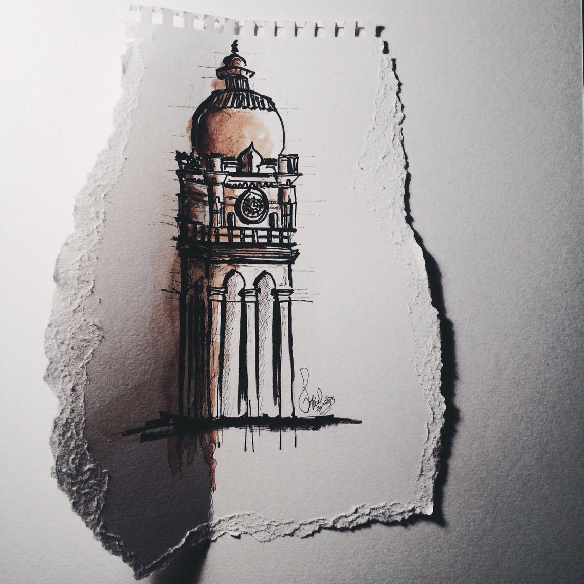 Sketch Malaysia Building Bangunan Sultan Abdul Samad My Drawings Drawings Building