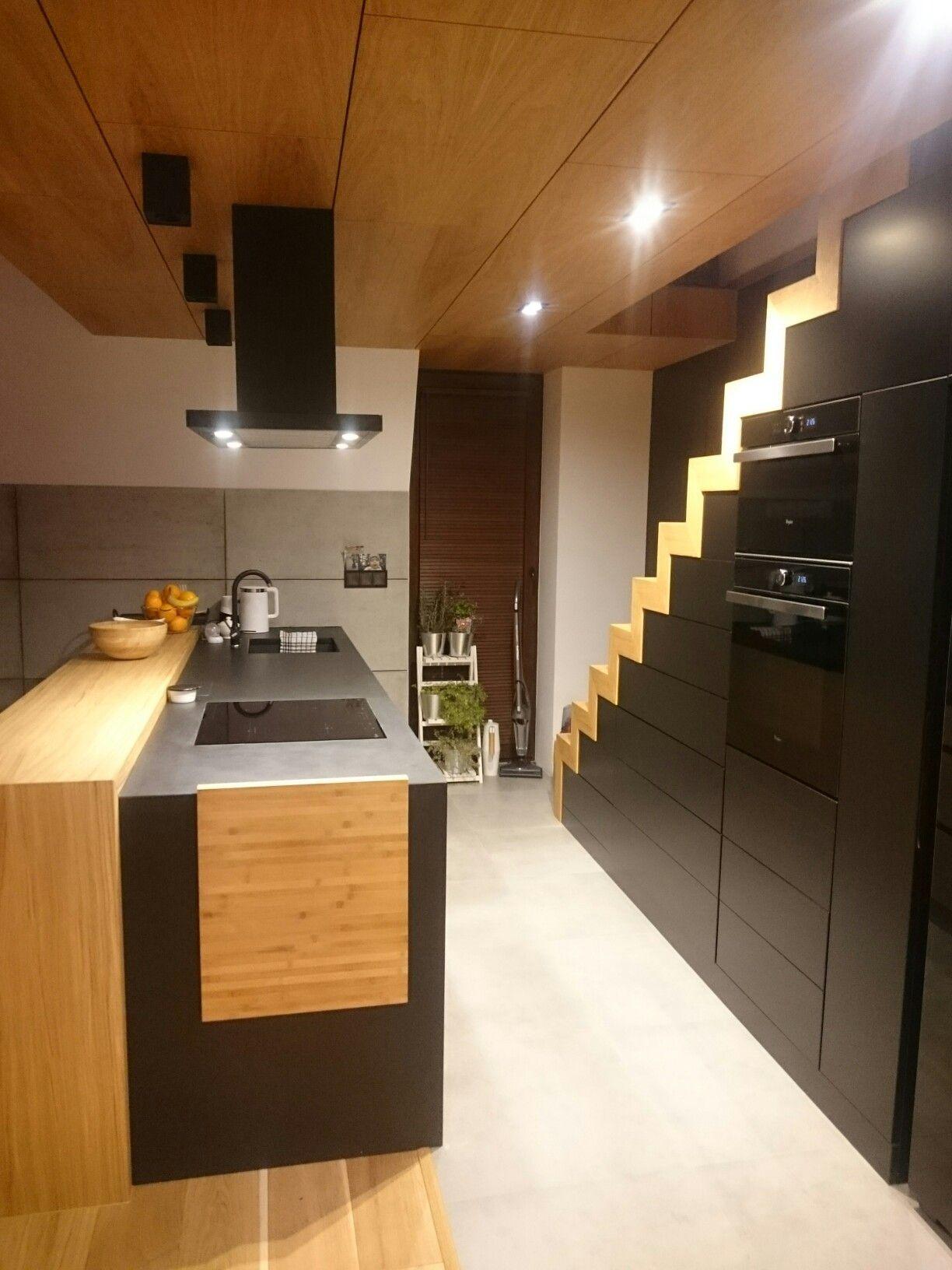 Black kitchen under stairs Wood design oak   Kitchen under ...