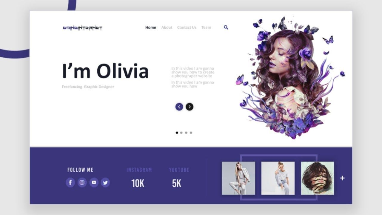Responsive Graphic Designer Website Using Html Css And Javascript In 2020 Website Design Html Css Css