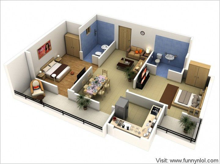 Top 10 awesome two bedroom apartment 3d floor plans by for Apartment floor plans tumblr