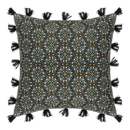 Bloomsbury Market Combine a chic and warm decoration with the cushion cover. This product is decorated with several pom-poms all around the cover. One side of the cover is patterned, the other side is plain black to change as you wish. Dare to mix and match with the art Deco cushion cover. Otherwise, try the Tibetan style with the Mandala cushion cover.