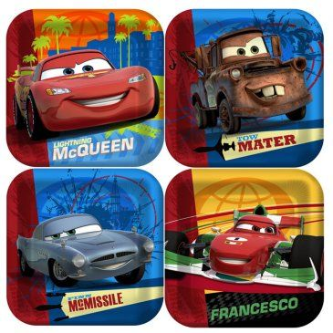 Disney Cars 2 Square Dessert Plates Birthday Express 3 For 8