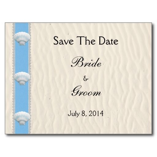 Seashell Beach Wedding Save The Date Postcards