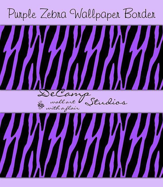 PURPLE ZEBRA PRINT Wallpaper Border Wall Decals by decampstudios ...