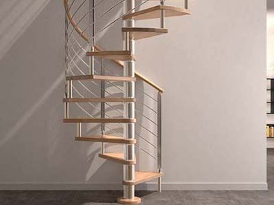 Spiral Stairs with Horizontal Steel Rods