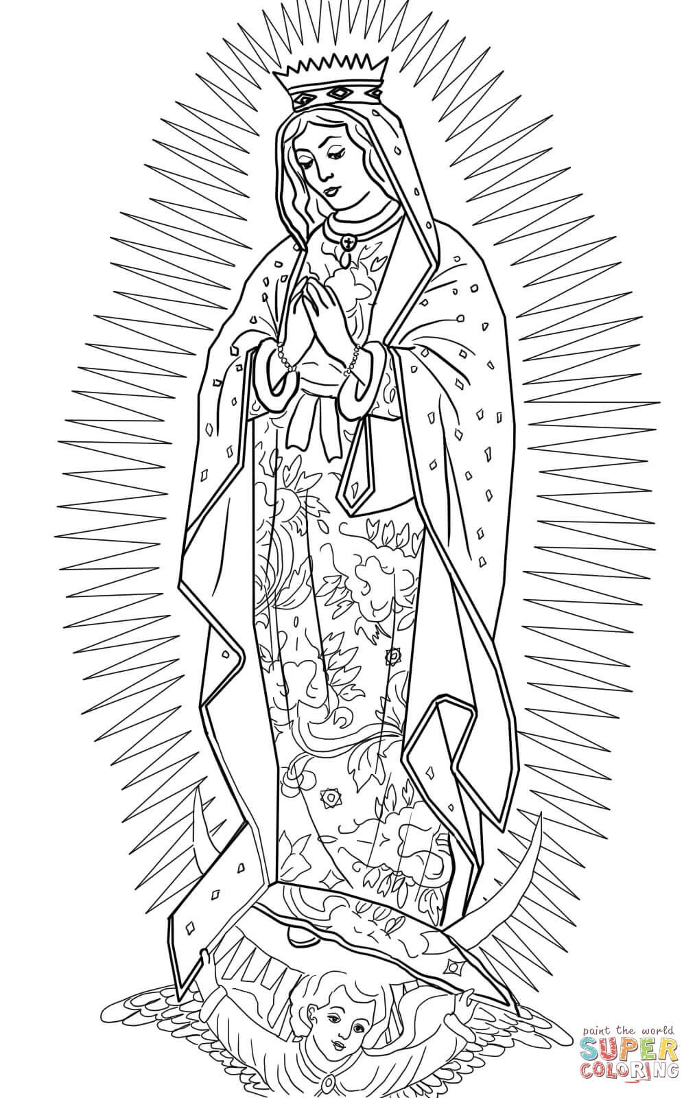 Printable coloring pages virgin mary - Our Lady Of Guadalupe Super Coloring