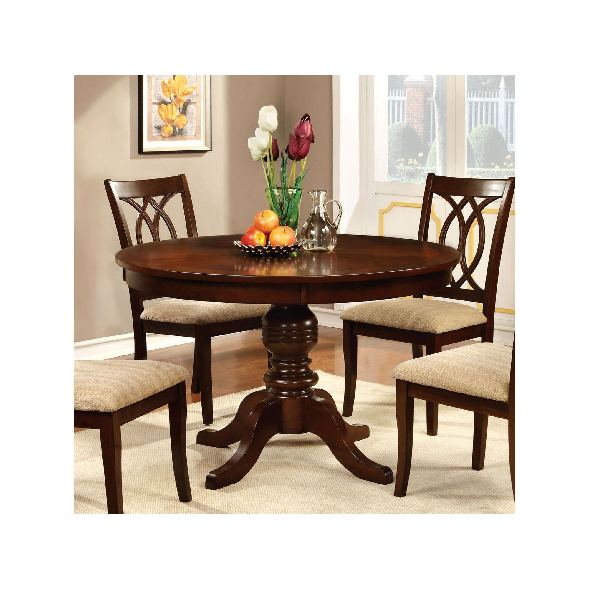 Round Table Top With Pedestal Dining Table Wood Brown Cherry
