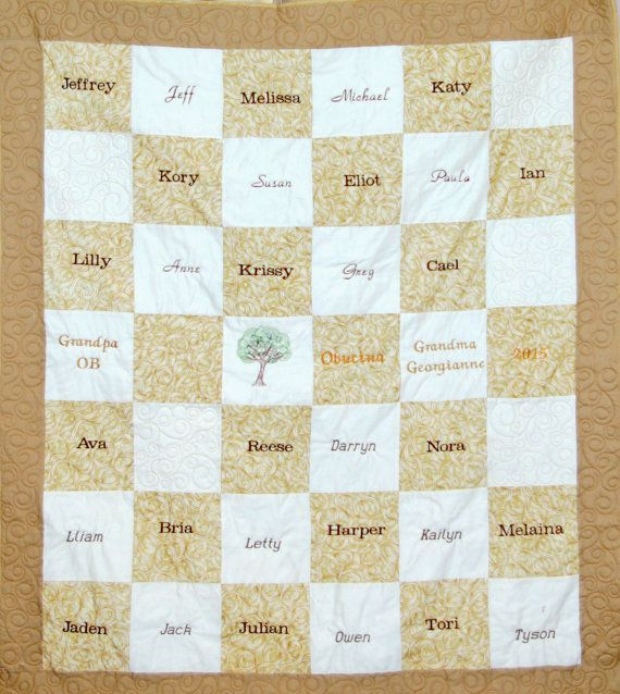 Family Tree Quilt, Custom 50 Anniversary Gift, For Grandparent, Parent, Embroidered, Personalize Throw With 32 Family Member Names, AGFT 171 #50anniversary Family Tree Quilt Custom 50 Anniversary Gift For #bestgiftsforgrandparents
