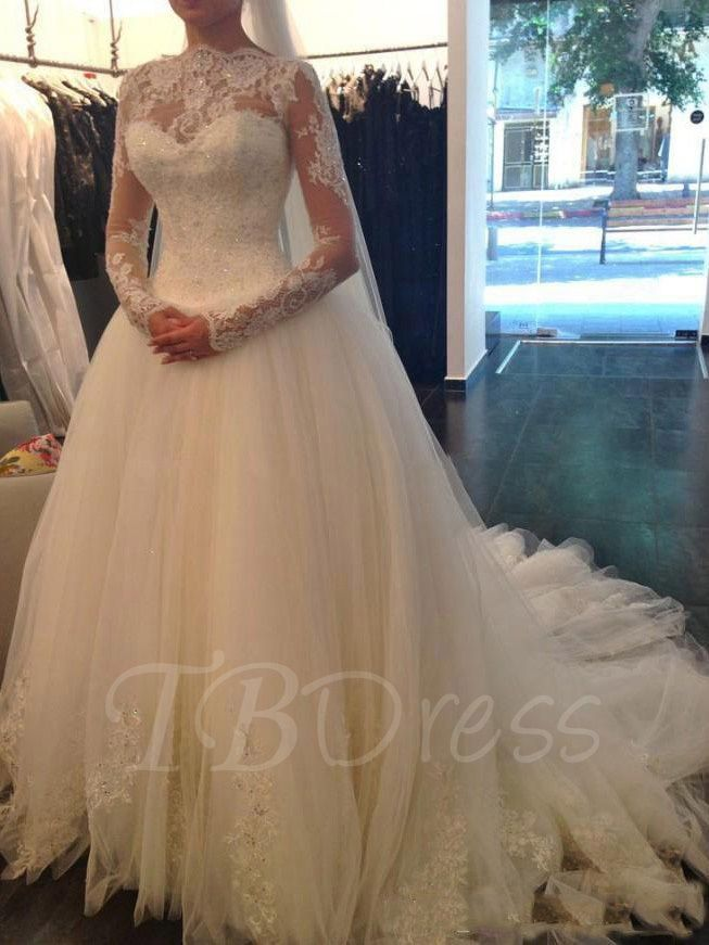 Long Sleeves Ball Gown Lace Sequins Wedding Dress | Long ...