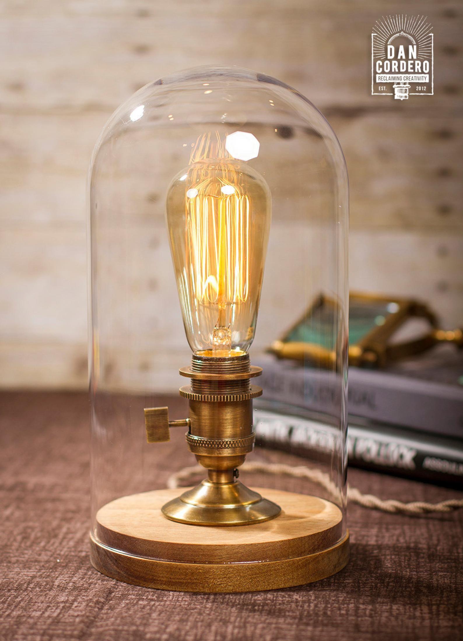 Glass Bell Jar Edison Table Lamp Desk Lamp Edison Light Etsy Glass Bell Jar Edison Table Lamp Edison Light Bulbs