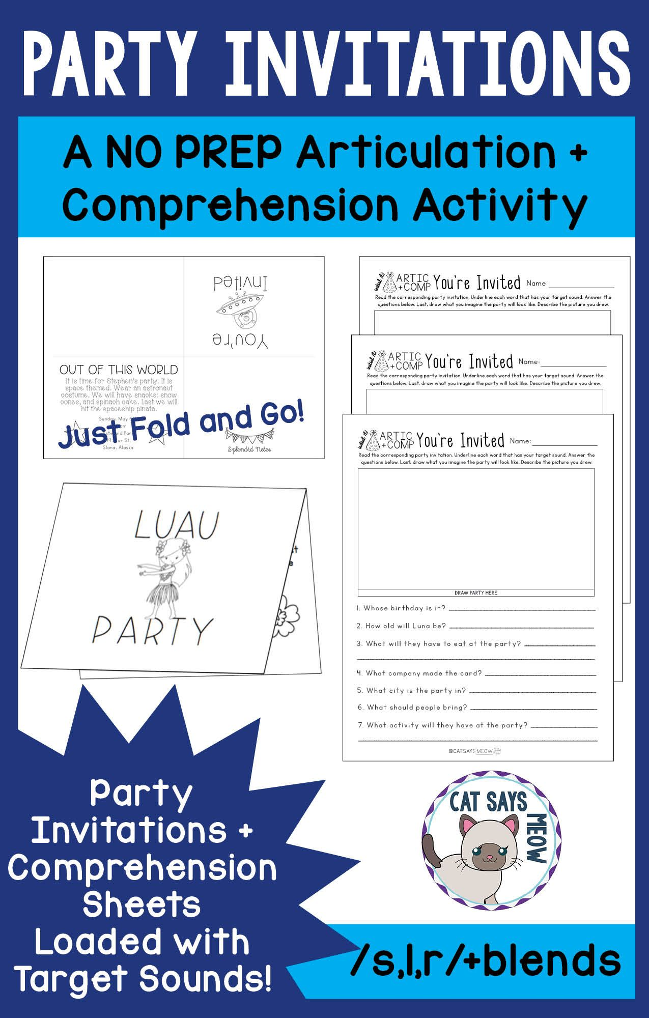 Party Invitations A No Prep Artic Reading Comprehension