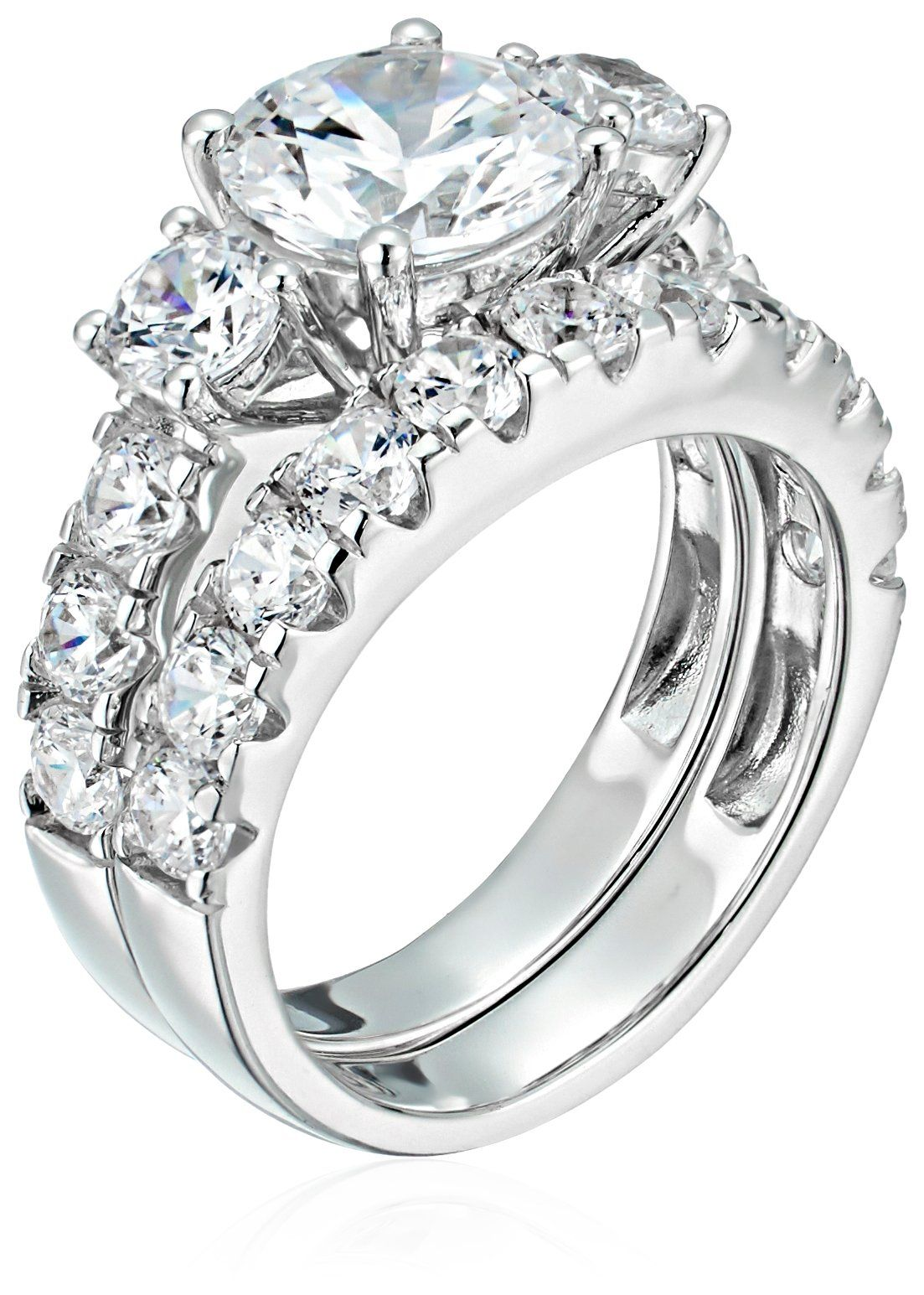 Sterling Silver Cubic Zirconia Round, 3Stone Bridal Set
