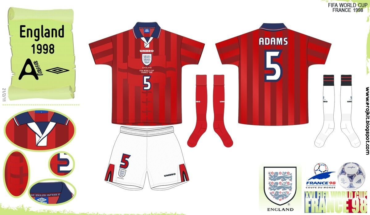 England Away Kit For The 1998 World Cup Finals