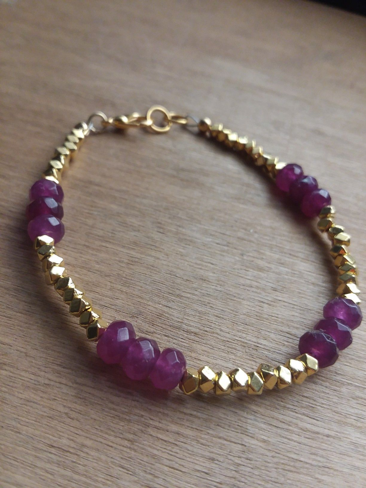 Natural Gemstone Bracelet With Gold Beads Handmade Www Etsy Annieperezjewelry