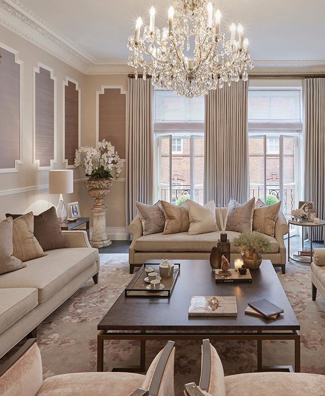 Feminine elegant grandeur in this formal sitting room Shades of