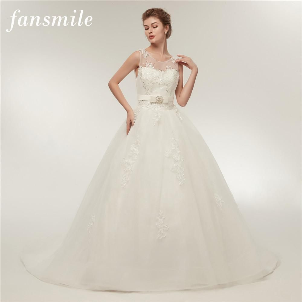 Fansmile high quality vintage lace up wedding dress long train
