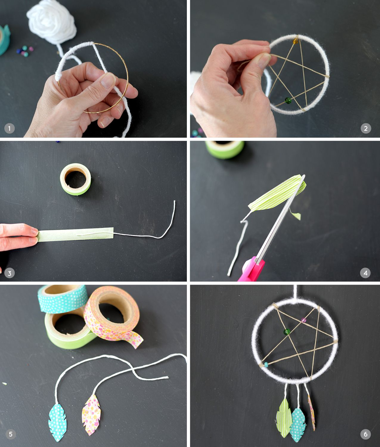 Diy mini dreamcatcher craft girls camp and dream catchers for How to make dream catchers easy