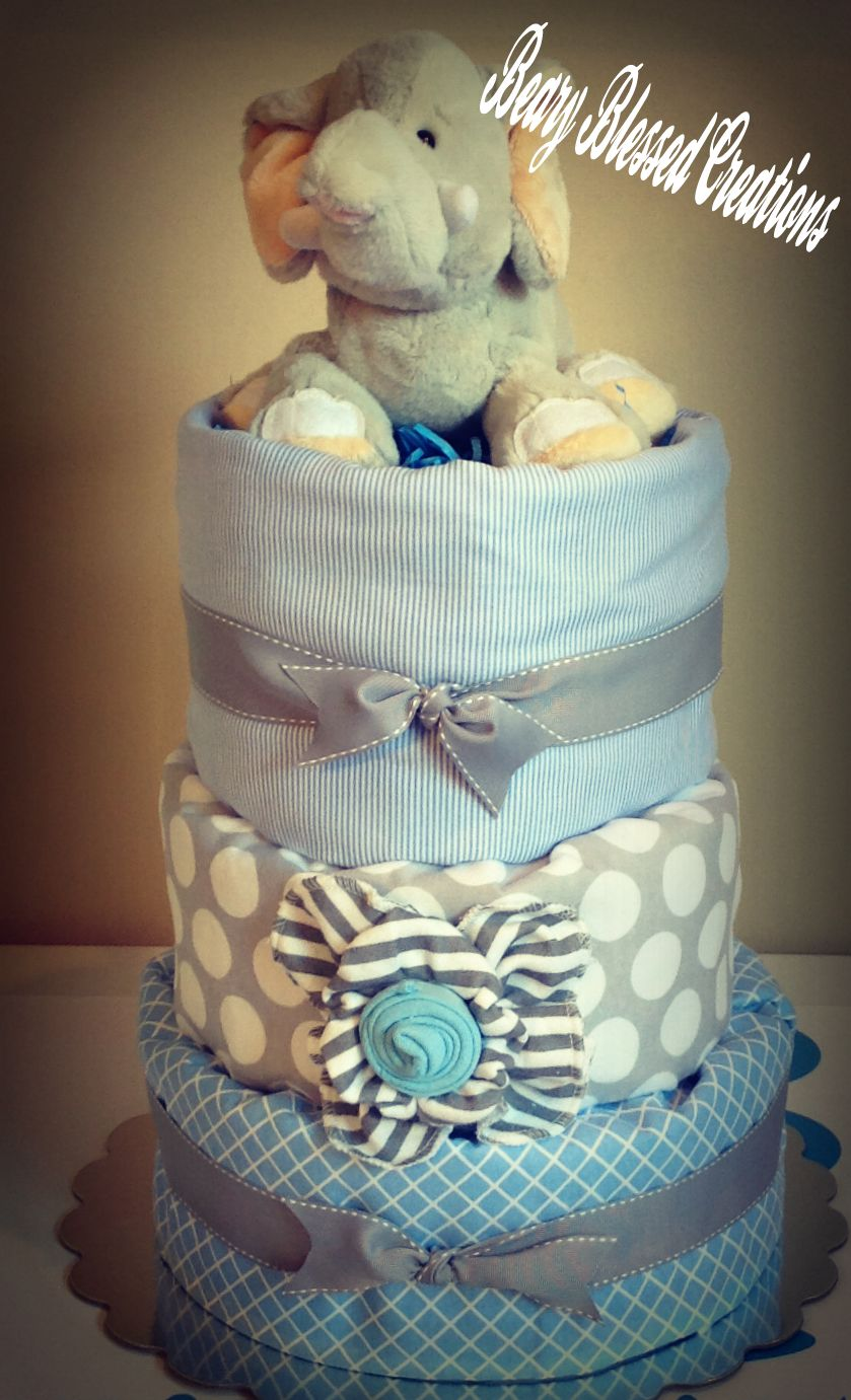 3tier elephant diaper cake with three receiving blankets