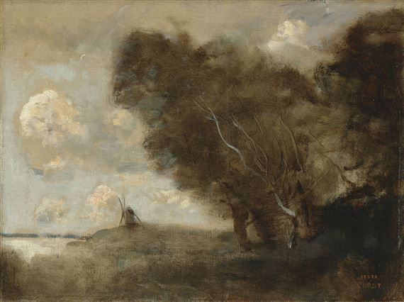 Le moulin sur la dune (1870 - 1872) By Camille Corot; oil on canvas - Tarif Gros Oeuvre Maison