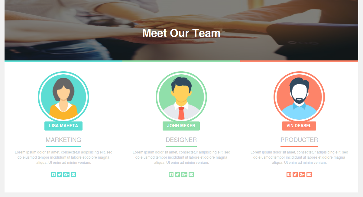 how to create responsive meet our team page design using bootstrap