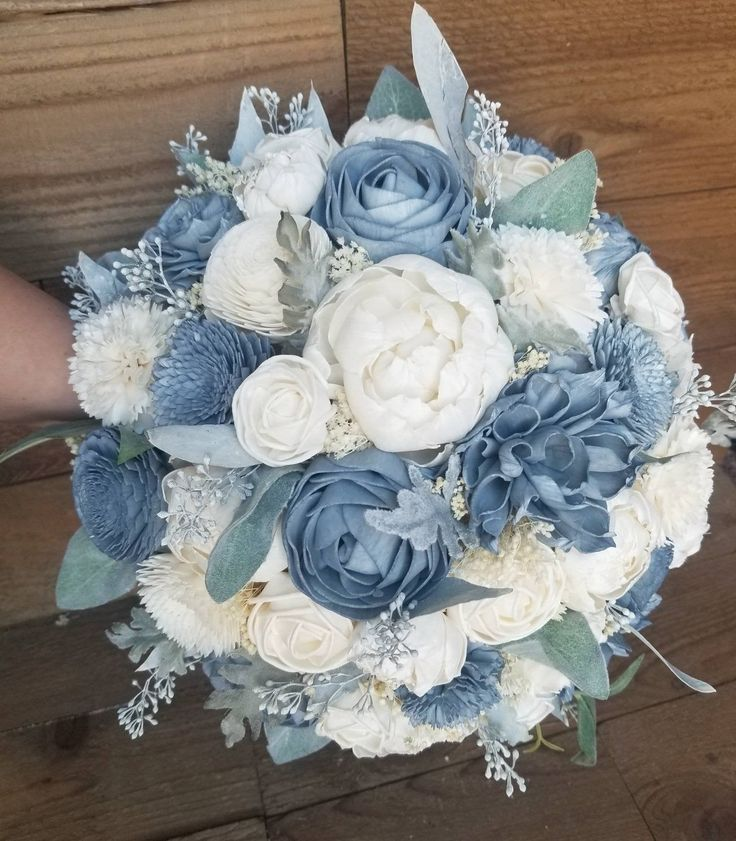 Steel blue and white boutonniere groom boutonniere sola wood flowers