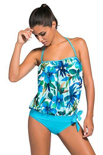 1bf8dd06f2 Aleumdr Women s 2PCS Bandeau Top Triangle Briefs Swimsuit... https   www