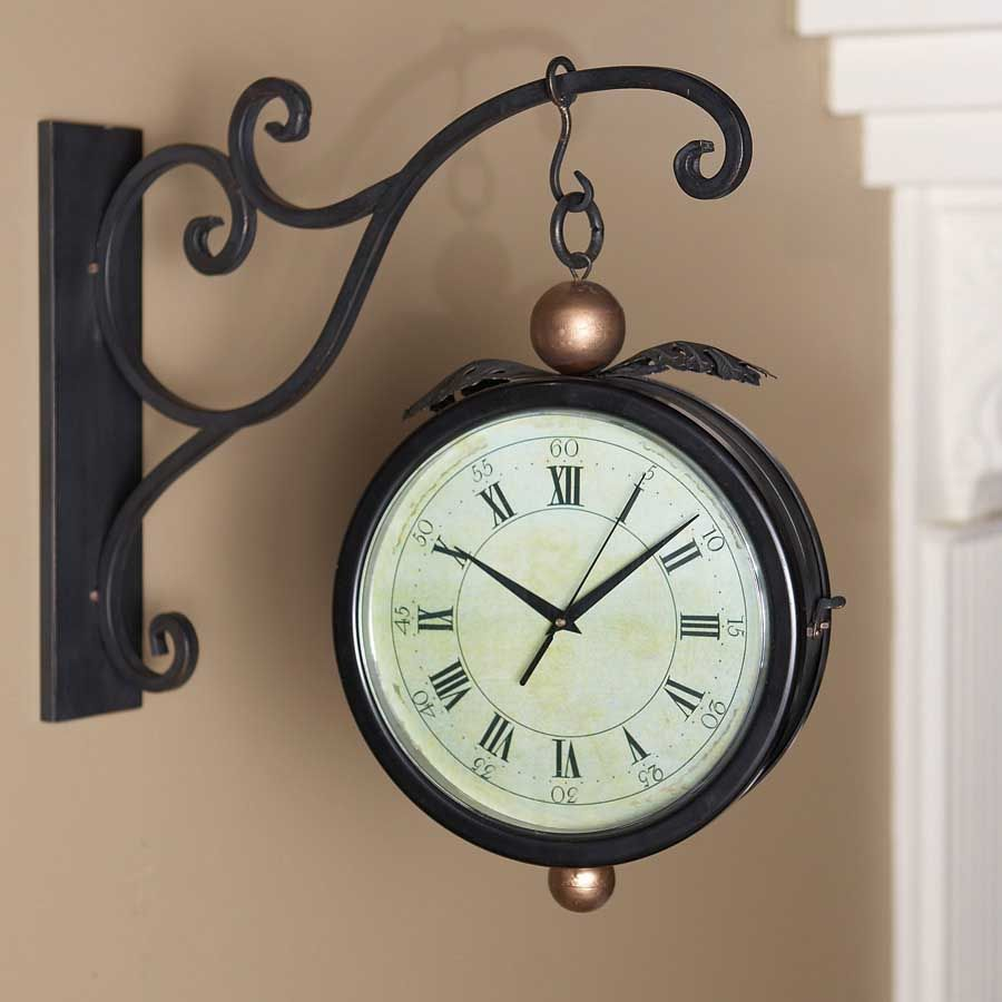 Black Iron Double Sided Hanging Clock W Wall Bracket Solid Decorative Mount And That Hangs From It Very Impressive Looking