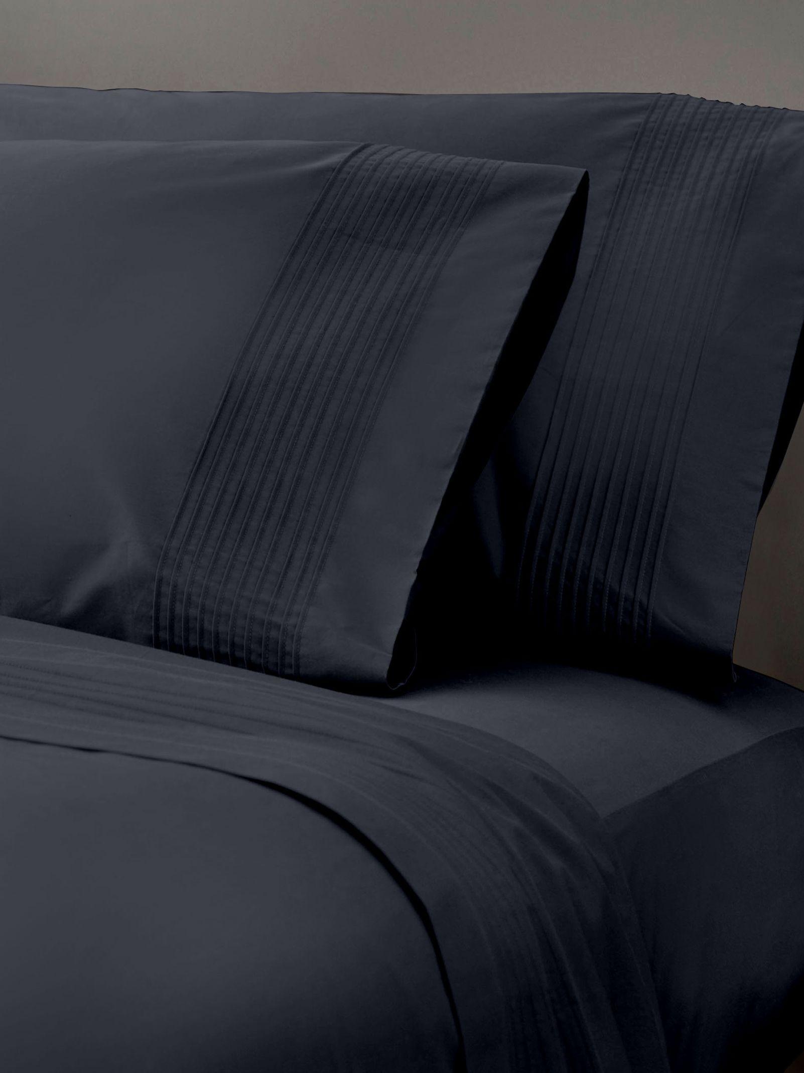 donna karan home standard queen pillowcase tailored pleat black ice