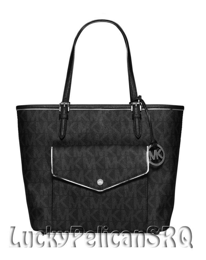 b44db89b36d1 Michael Kors Specchio Jet Set Large Multifunction PVC Tote Bag Handbag  Black NWT  MichaelKors  TotesShoppers