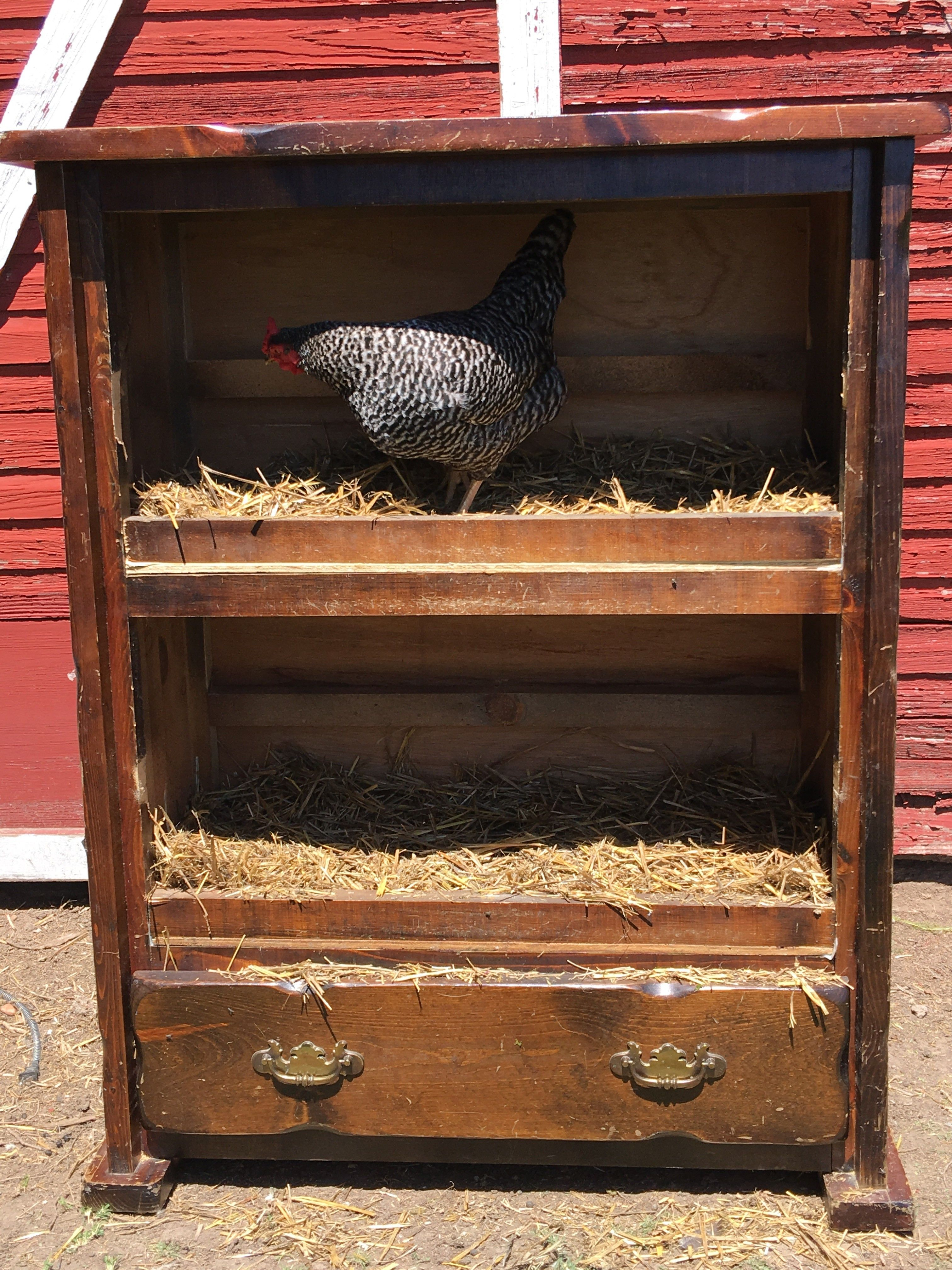 Hello Nesting box. Goodbye old ugly dated furniture. Upcycling for the farm life!