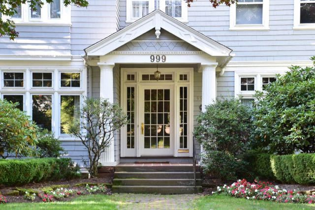Some front door inspiration from West Hartford, CT. Love all of the windows and detail of the door surround!