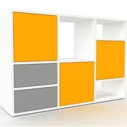 Photo of Wohnwand Weiß – Individuelle Designer-Regalwand: Schubladen in Grau & Türen in Gelb – Hochwertige Ma