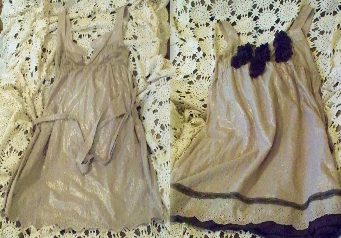 Thrift store dress and a pillow case :)  BEFORE and AFTER