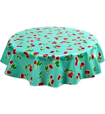 Round Oilcloth Tablecloth In Cherry Aqua Oilcloth Tablecloth