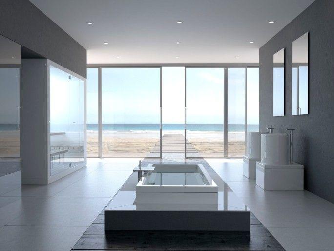 riesige wei e luxusbad mit boden bis zur decke windows. Black Bedroom Furniture Sets. Home Design Ideas