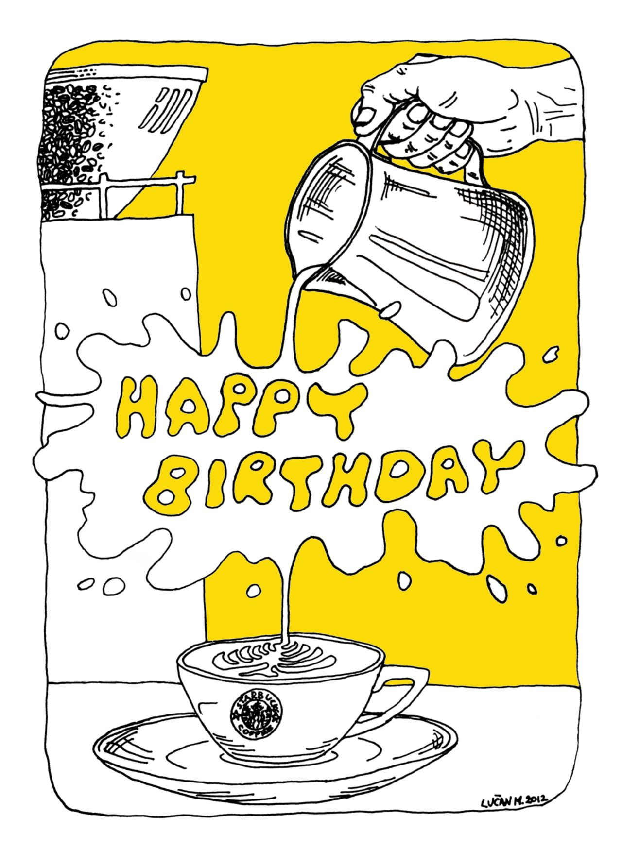 Coffee Lovers Birthday Card work done for Starbucks