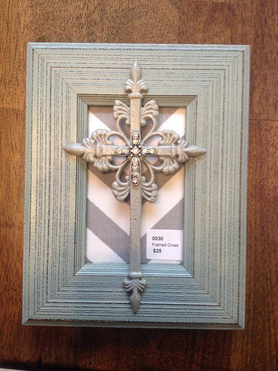 Framed Cross By Two Girls Who Make Crosses by 2girlswhomakecrosses, $25.00