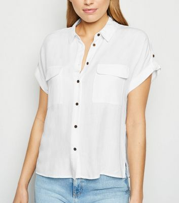 Off White Pocket Front Short Sleeve Shirt New Look