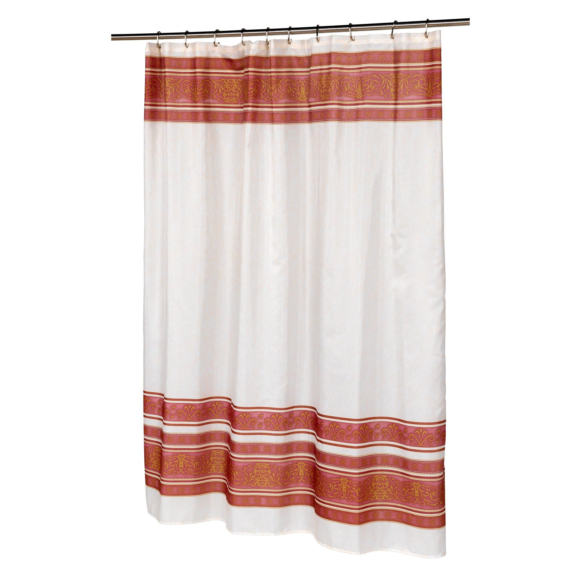 "Carnation Home ""Fleur"" Fabric Shower Curtain In Burgundy"
