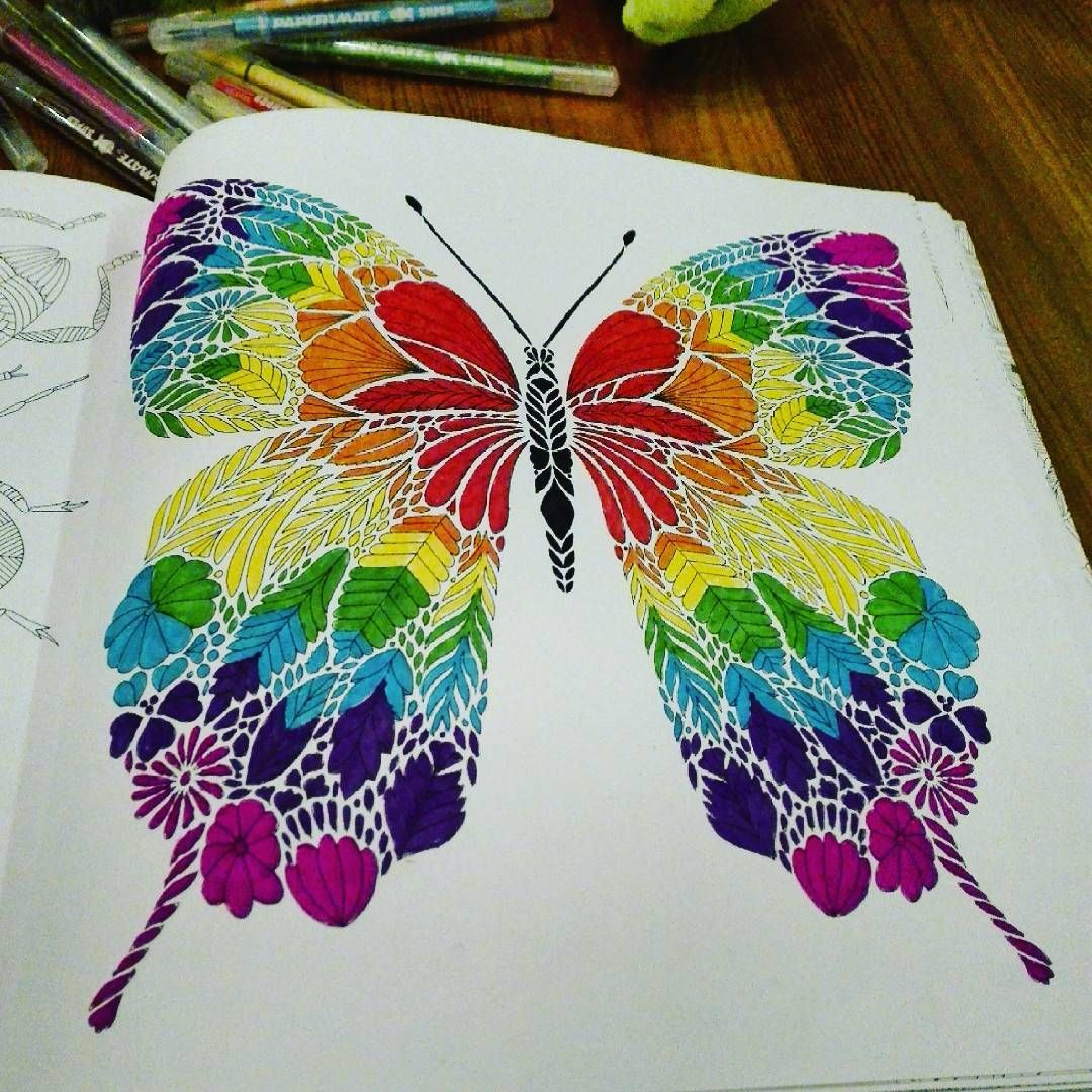 Julie On Instagram Finished Butterfly Motyl Rainbow Tecza Colors Colorful Coloringpages Coloringbook Swiattropikow Kolo Colores Mariposas Formas