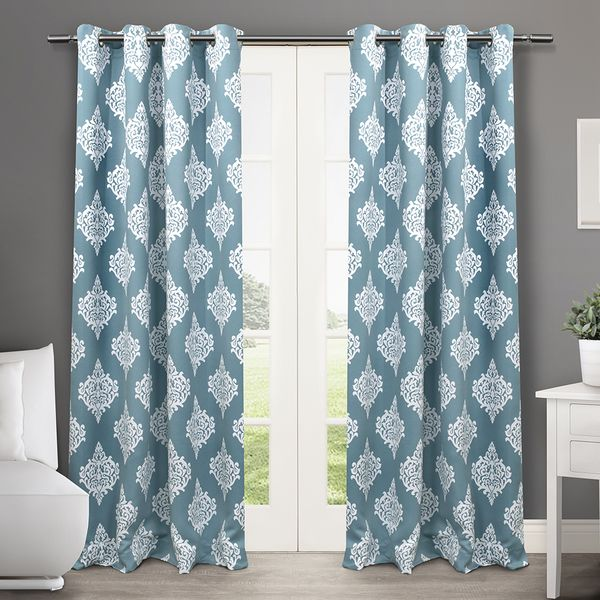 Medallion Blackout Thermal Grommet Top 84 Inch Curtain Panel Pair